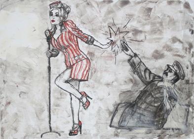 Dolly Parton und Josef Stalin 2005, Acryl/Kreide/Leinwand, 90 x 120 cm
