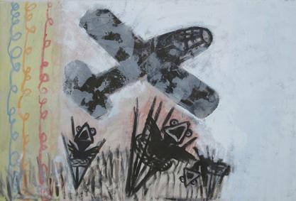 Drei Nester 2002, Acryl/Kreide/Leinwand, 110 x 160 cm