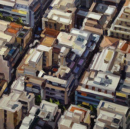 Athen 4-X 2015, 70 x 70 cm, Ölfarbe / Leinwand