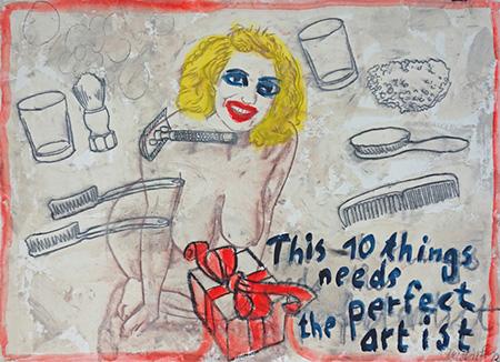 Was der Künstler so braucht 2012, MT auf Bütten, 78,5 x 107 cm
