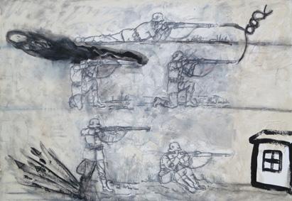 Schützenfest 2005, Acryl/Kreide/Leinwand, 110 x 155 cm