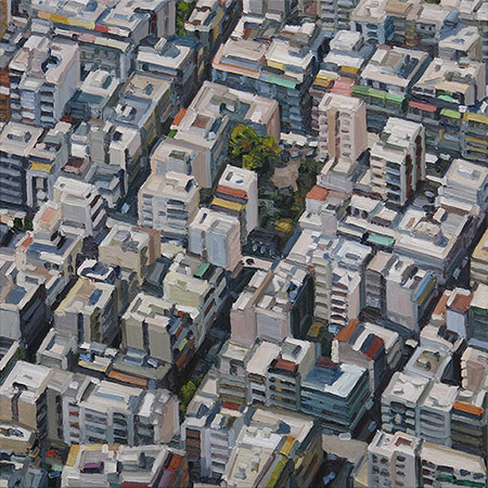Stadtbild (Athen) 2015, 160 x 160 cm, Ölfarbe / Leinwand