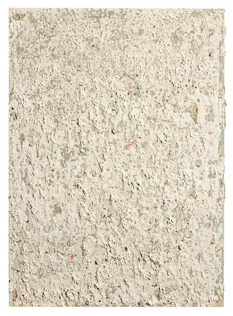 Bohrstück (Rückbau) 2009, Rigips/Holz, Wandfarbe, Lack, Bleistift, Spachtelmasse, Bohrung, 125 x 90 cm