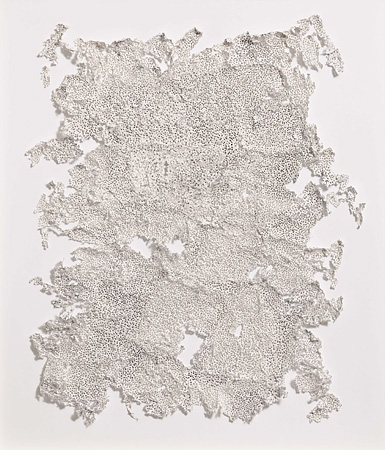 Bohrzeichnung (Albenga) 2008, Bleistiftbohrung in Papier, Klebstoff, 62 x 54 cm