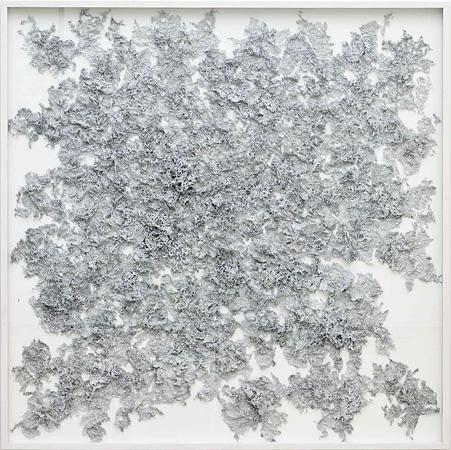 Bohrzeichnung (Roquebrune) 2009, Bleistiftbohrung in Papier, Klebstoff, 200 x 200 cm