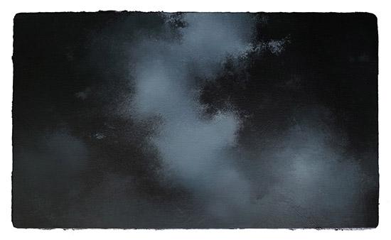 Dark blue air 2016, oil on wood, 30 x 50 cm