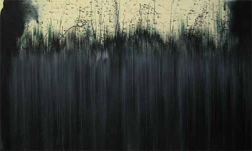 Hohes Land 2006, Leimfarbe/Tusche/Lwd., 140 x 230 cm