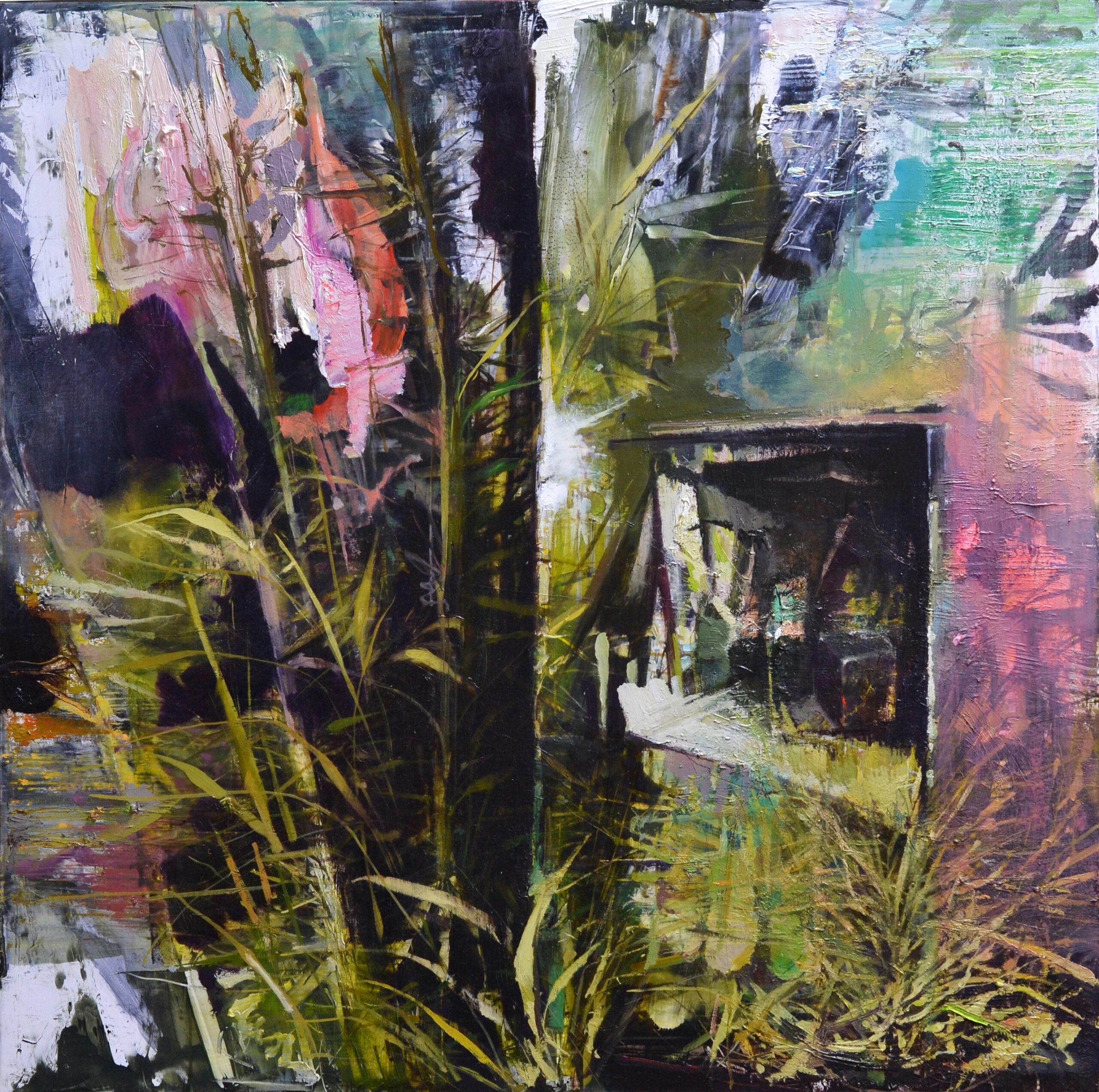 Heim des Grasmalers, 2020, 62x63 cm, Öl auf Alu
