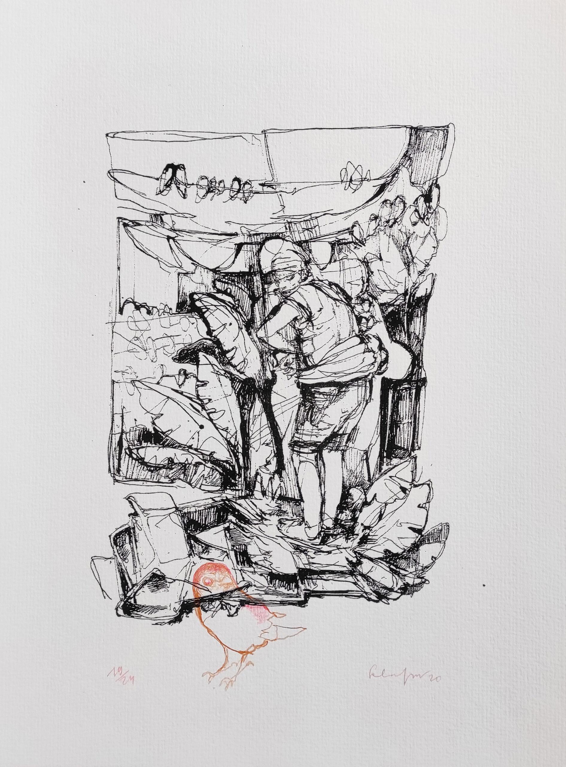 Kai Klahre, Vogelfänger, 2020, Druckgrafik auf Papier überzeichnet, 32x24cm Kopie