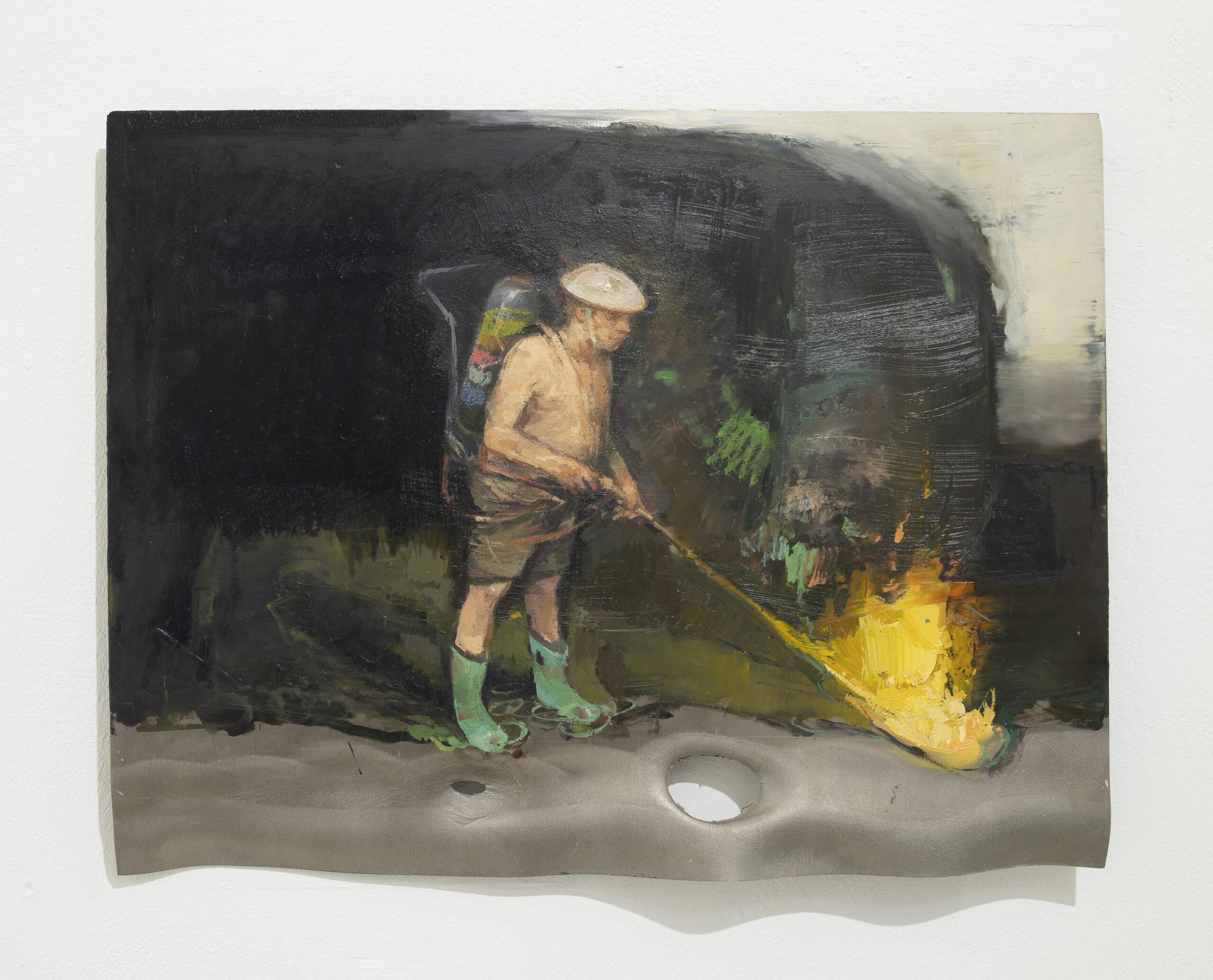 Klahres Feuer,2020, 40x50cm, Öl auf Alu