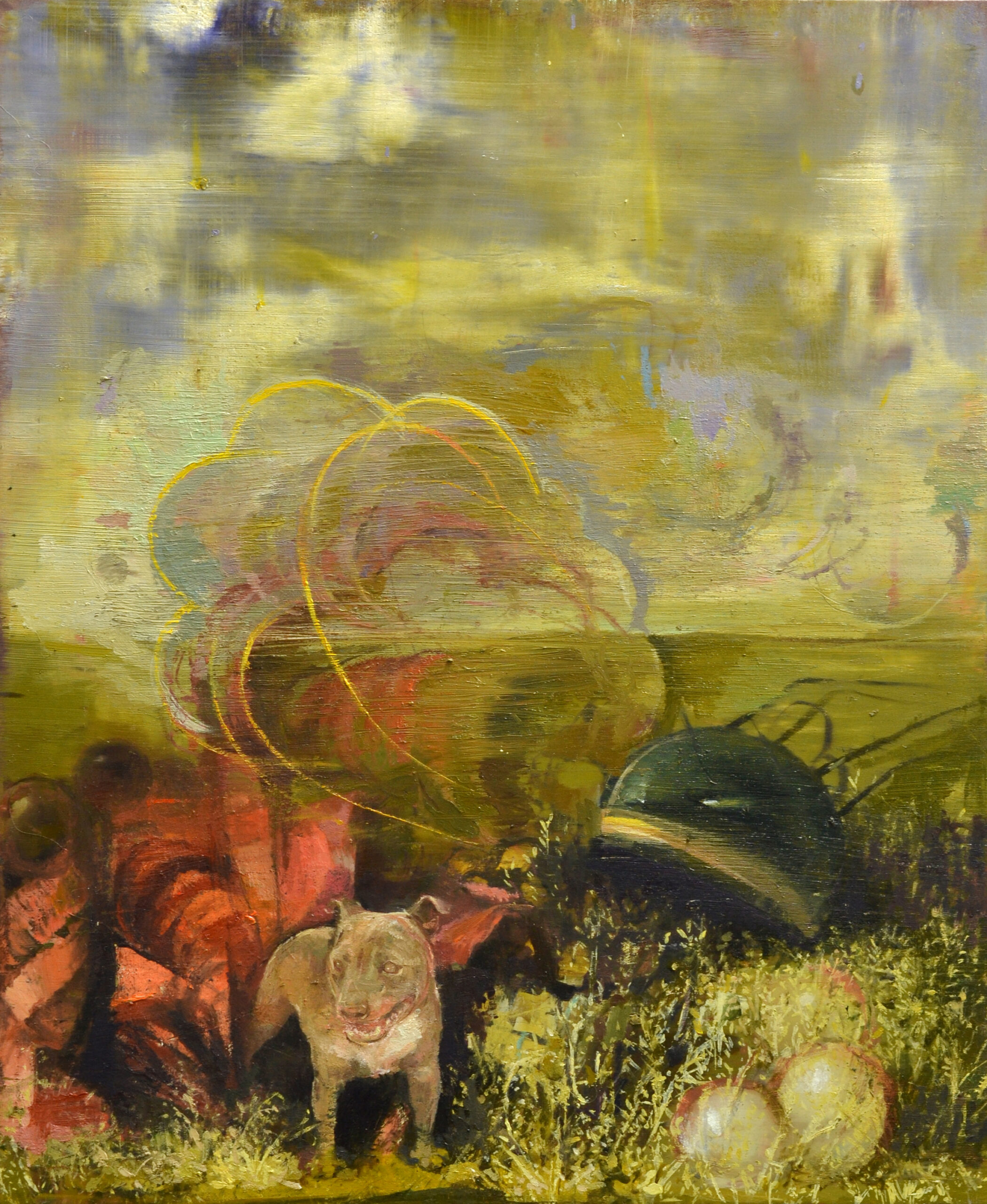 Laikas Rückkehr, 2020, 40x33 cm, Öl auf Alu