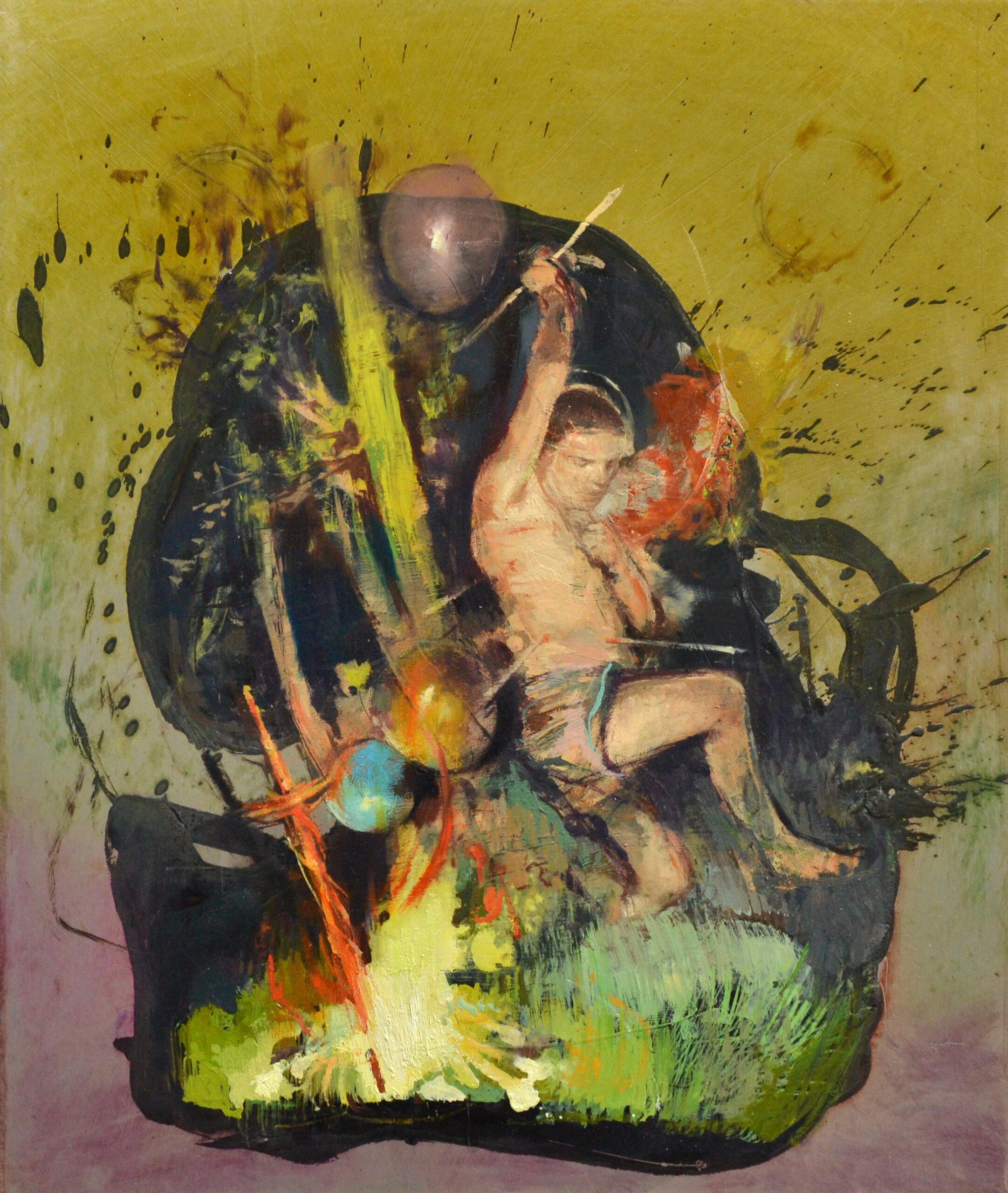 Sebastian, 2020, 38x32 cm, Öl auf Alu