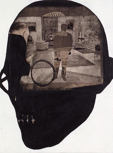 Ohne Titel, Aug.-Dez. 2006, 40 x 30 cm, Öl/Acryl/Papier/Holz